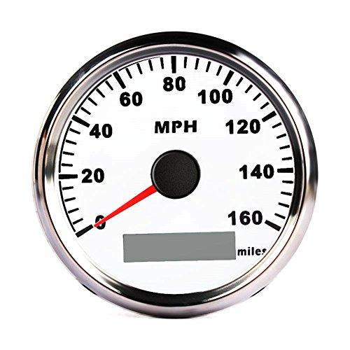 CALISTOUK Compteur de vitesse GPS numérique en acier inoxydable 85 mm Jauge 160 MPH pour voiture, camion, bateau Blanc