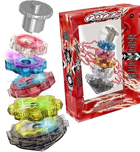 Cefa Toys - Totem Infernal Power, 5 Peonzas Eléctricas Apilables con LED de Colores, Apto para Niños a Partir de 7 años