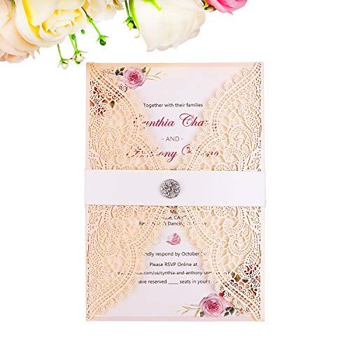 PONATIA 25PCS Lacer Cut Wedding Invitations Card Hollow Bride Invitations Cards for Wedding Bridal Invitation Engagement Invitations Cards (Blush Pink)