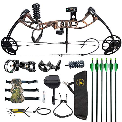 HYF Youth Compound Bow for Hunting and Beginner,Junior Compound Package/Set for Young Archers,290fps IBO Rate,Right Hand,Lightweight Design (camo) (Green) (Muddy Girl) (camo)