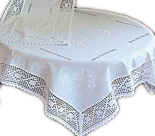wunderschöne Tischdecke mit Stil Baumwolloptik Häkelspitze Weiß Bauerndecke Landhaus (Tischdecke 130x225 cm rechteckig)