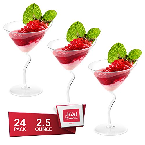 Dessert Cups – Angled Martini Shape Clear Plastic Parfait Cups | 2.5 oz - 24 Pack | Mini Cups - Chocolate Cups for Desserts | Appetizer Cups | Shooter Glasses | Mini Plastic Cups [Mini Wonders]