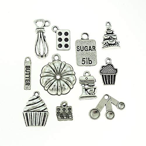 Baking Charm Collection Antique Silver Tone 11 Different Charms - COL074