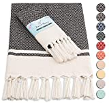 RUMI & SHAMS Turkish Hand Towel Set of 2 | 100% Cotton Bathroom Hand Towels | 16 x 32 Inches Kitchen Hand Towels | Decorative Towels for Bathroom | Perfect for Boho Kitchen Decor (Black)