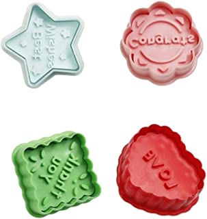 Cookie Cutter Embossing Mold Set (4 Pack),Mini Christmas Blessing Words Themed Cookies Cake Topper Sugar Craft Chocolate Plunger Cutter Mold,Spring-Loaded Handle(Colors May Vary)