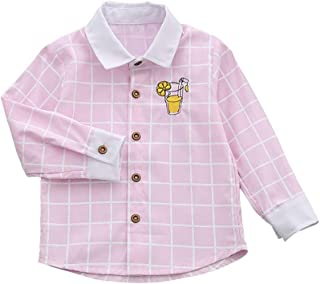Phorecys Toddler Boys' Long Sleeve Button Down Cotton and Linen Cute Shirt