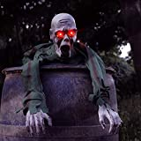 FiGoal Halloween Ground Breaker Crawling Zombie with LED Eyes and Spooky Sound Effect 43.3 Inch Halloween Scary Groundbreaker Animated Halloween Zombie Prop for Halloween Outdoor Décor