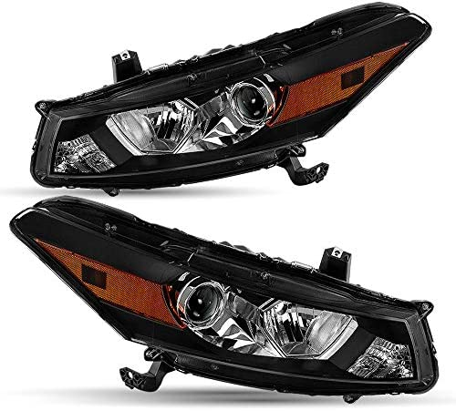 Black Housing Headlight Assembly Set Compatible with 2008 2012 Honda Accord 2 Door Coupe Projector product image