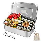 Zorara Edelstahl Brotdose, Lunchbox Edelstahl [1200ml], BPA-Frei Bento Box mit 3 Fächern & Beutel, Metall Lunch Box mit Gabel Auslaufsicher Spülmaschinenfest, Jausenbox für Kinder und Erwachsene