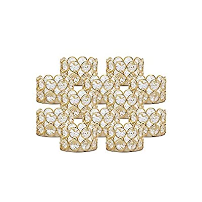 VINCIGANT Pack of 12 Gold Crystal Tea Light Candle Holders for Wedding Home Table Centerpiece Decoration, Gifts Boxed (Candle Excluded)