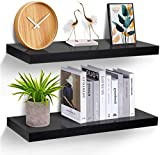Floating Shelves Wall Mounted - Set of 2 Display Ledge Shelves Wide Panel 9.3in Deep, Perfect for Bedroom, Bathroom,...