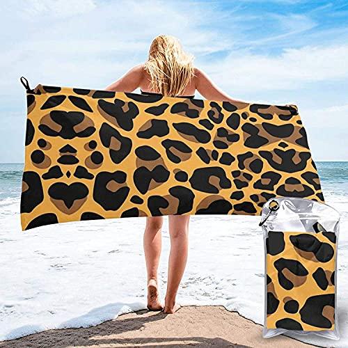 Toalla de baño con Estampado de Leopardo, Toalla de Playa, Uso Multiusos para Deportes, Viajes, súper Absorbente, Microfibra de Secado rápido Suave, Liviana: 31.5 'x63