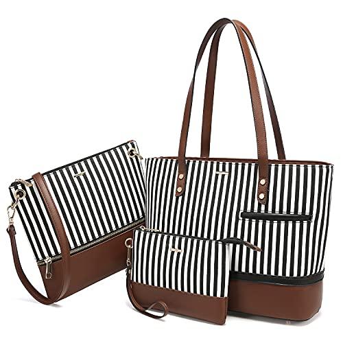 Womens Purses and Handbags Satchel Shoulder Bags Tote Crossbody Top Handle LOVEVOOK Purse Set 3pcs Stripes Style,Coffee
