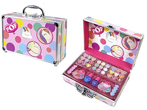 POP GIRL Color Train Case - Set Trucchi per Bambine - Valigetta Trucchi Rigida - Kit Trucchi con Lucidalabbra Bambina, Smalti, Ombretti Occhi e Molto Altro - Giochi e Regali per Bambini