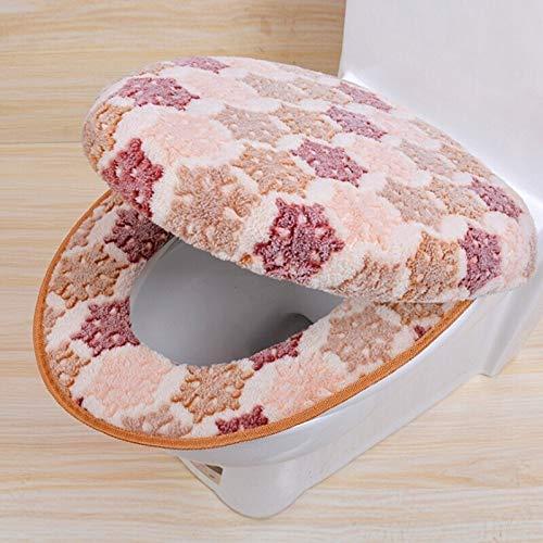 yywl Toilet Lid Seat Cover Warm Two-Pieces O-Shape Zipper Toilet Cover Seat Coral Fleece Travel Set for Bathroom Supplies (Color : Dark Khaki-2pcs)