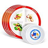 Health Beet Portion Plate Choose MyPlate for Kids, Toddlers - Kids Plates with Dividers and Nutrition Portions Plus Dairy Bowls - English Language (Set of 4)