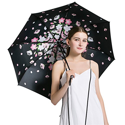 Paraplu Vijf vouwen mini, zonwering UV, zwart wit roze bloem patroon, mini, kleurrijk,3d, 95cm (Kleur : ZWART)