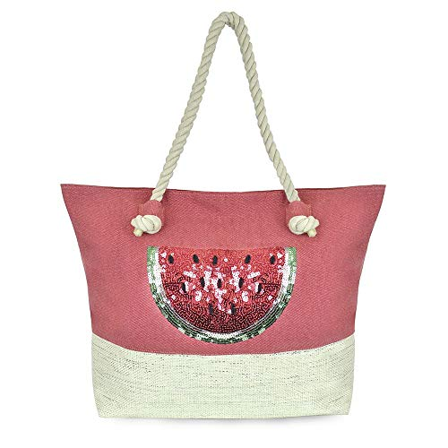 Thingimijigs Wassermelonen-Pailletten-Strandtasche mit Reißverschluss - Rot