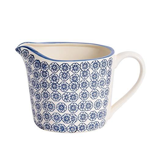 Nicola Spring Gemusterter Mess-/Kochkrug mit blauem Blumenaufdruck - 1000ml