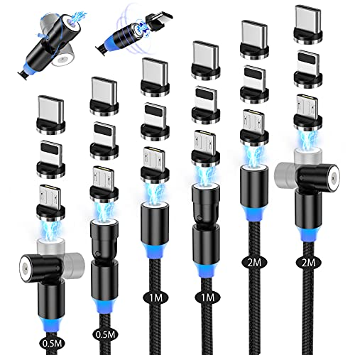 AKBKTII マグネット 充電ケーブル 3in1 USB C ケーブル【6本セット/540度回転5本+360度回転2本】L型 磁石 磁気式 防塵 着脱 マイクロmini-USB Type-C コネクタ タイプc Micro USB Cable Android Type-C iOS対応(0.5M-0.5M+1M+1M+2M+2M)