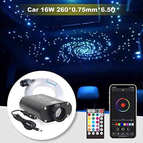 Coche Bluetooth Fibra de vidrio 16W RGBW LED Fibra óptica Luz de techo Estrella, APP/Modo de música Control remoto Sensor de audio Revestimiento del techo Kit de luz 260 piezas 0,75 mm 6,5 pies / 2 m
