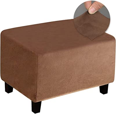 DUJUIKE Ottoman Covers Rectangle Ottoman Slipcover Ottoman Protector Cover for Foot Stool Footrest Furniture Stretch Bella Velvet Fabric (Brown, Large)