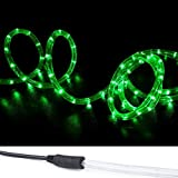 WYZworks 150' Green LED Rope Lights w/(Pre-Attached Power Cable) - Flexible 2 Wire Accent Christmas Party Decoration Lighting…