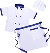 winying Unisex Boys Girls Cook Chef Role Play Costume Short Sleeves Jacket with Apron Hat Hairpin Outfit Set