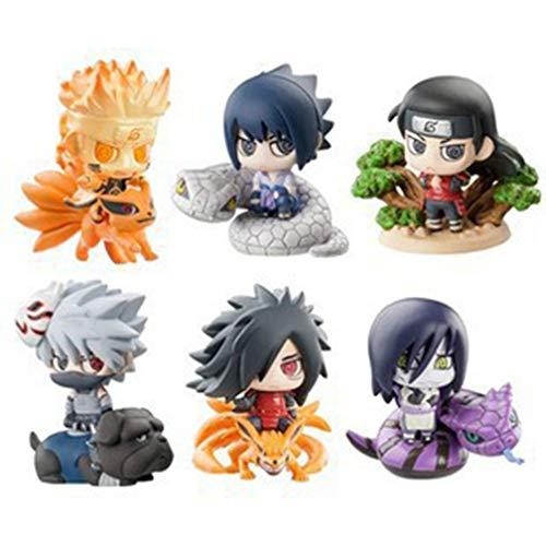 EASTVAPS 6 unids / Set PVC 6 cm Naruto Kunai Gaara Sasuke Anime Figuras de acción Modelo de Juguete de los niños