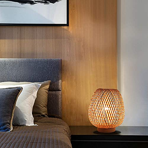Pequeña lámpara de mesa de tejido de bambú natural, lámpara de mesa de noche, lámpara de...