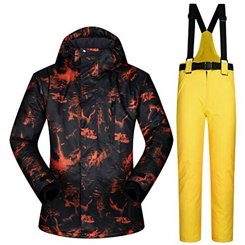BCOGG Veste De Ski Hommes Chaud Hiver Ski Et Snowboard Costume Veste + Pantalon Mâle Coupe-Vent Imperméable À l'eau Porter Hiver Hommes Combinaison De Ski L Jaune
