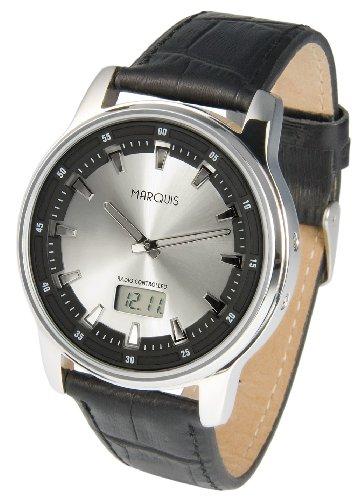 Sportliche MARQUIS Herren Funkuhr (Junghans-Uhrwerk) Tachymeter Armbanduhr, Lederarmband, Edelstahlgehäuse 964.6076