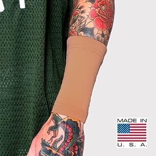 Tat2X Ink Armor Premium Forearm 6 Inch Tattoo Cover Up Sleeve - No Slip Gripper - U.S. Made - Suntan (single tattoo cover sleeve) (Extra-Small/Small)