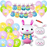 Devis 26 pcs Happy Easter Party Decorations Set, Happy Easter Banner Balloon Kits, 30.7 Inches Bunny Foil Balloons Colorful Latex Balloons for Indoor Outdoor Kids Easter Day Party Supplies