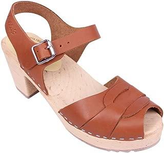 Swedish Clogs : Peep Toe Clogs in Tan Leather