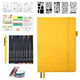Bullet Dotted Journal Set with the most bonus : Feela notebook set with 1 yellow Bullet Dotted Journal Notebook, 15 colors Fineliner pens,5 Pieces of Reusable Stencils,6 Sticker Sheets,6 Washi Tape set,1 Black Pen.Unbelievable Abundant and Intimate! ...