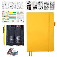 Feela システム手帳セット 合皮 A5サイズ ドット方眼 ペン付属 イエロー