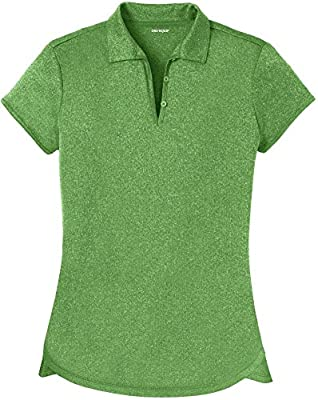 DRI-Equip Ladies Heathered Moisture Wicking Golf Polo-Green-M