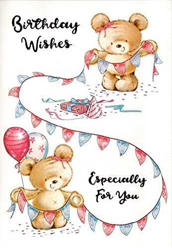 Happy Birthday Card - Cute Bears with Bunting - Pink Foil - For Her Female Woman