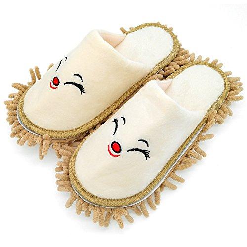 Selric® Zorro sonriente Zapatillas Mopa camello, Zapatos Desmontables y Lavables Para Mujer, Casa zapatillas de interior estar 25cm [tamaño EU:36-39]