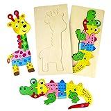 TONZE Holzpuzzle Montessori Baby Spielzeug Holzspielzeug-Tier Steckpuzzle Holz Kinderpuzzle Holzbausatz Lernspielzeug ,Kinder Spielzeug Kinderspiele, Holz Spielzeug Geschenke ab 3 Jahre Junge Mädchen
