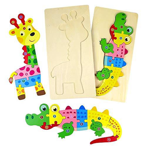 TONZE Holzpuzzle Montessori Spielzeug Holzspielzeug-Tier Steckpuzzle Holz Kinderpuzzle Holzbausatz Lernspielzeug ,Kinder Spielzeug Kinderspiele, Holz Spielzeug Geschenke ab 3 Jahre Junge Mädchen