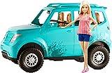 Barbie Voiture tout-terrain, véhicule 4 places turquoise avec carosserie éclaboussée de boue, poupée blonde incluse, jouet pour enfant, FGC99