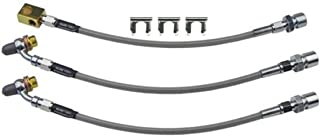 (D-6-11) Inline Tube Stainless Flex Hoses For Front Disc Rear Drum Brakes Compatible with 1979-88 GM G Body and A Body