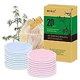 Waschbare Abschminkpads | 20 Stück 3-Lagen Wiederverwendbare Bio-Bambus & Baumwolle Wattepads mit...