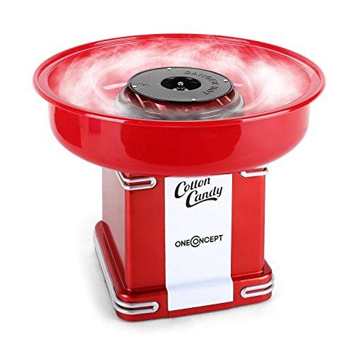 oneConcept Candyland Family Line - Retro-Zuckerwattemaschine, Zuckerwatte-Automat, 500 Watt Heizleistung, Auffangbehälter 31 cm, Auffangbehälter-Höhe: 7 cm, Zuckerwattestab, rot