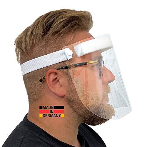 Urhome Hard 1 x Visier Gesichtsschutz aus Kunststoff | Face Shield in Weiß | Universales Gesichtsvisier für Erwachsene | Visier zum Schutz vor Flüssigkeiten | Made in Germany