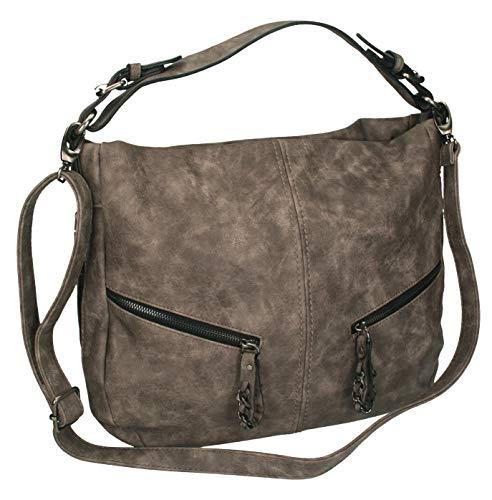 Betz. Borsa da donna borsa borsa per donna PARIS 4 borsa in similpelle con chiusura a zip e due cinghie Colore taupe