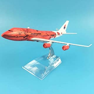 NKJWHB 16cm Plane Model Airplane Model Malaysia Red Flower Boeing 747 Aircraft Model Diecast Metal Airplanes 1:400 Plane Toy Gift