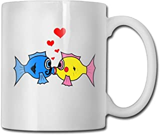 Kiss Fish Coffee Mug 11 Oz Mens Novelty Ceramic Gifts Tea Cup A perfect gift for your family and friends